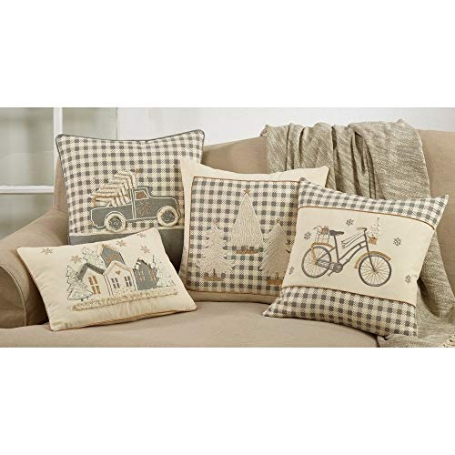 Fennco Styles Applique Bicycle 18 Inch Square Pure Cotton Decorative Throw Pillow – Holiday Design Cushion for Couch, Sofa, Bedroom, Office and Living Room Décor
