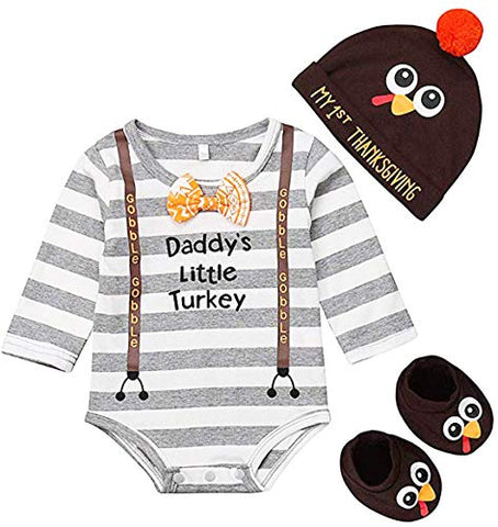 stylesilove Baby Boy Girl Daddy's Little Turkey Grey Striped Long Sleeve Bodysuit, Hat, Socks 3pcs Thanksgiving Cotton Outfit