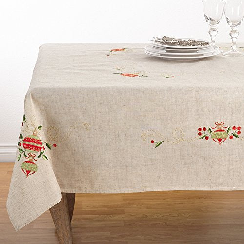 "Fennco Styles Embroidered Christmas Tree Design Holiday Linen Blend Tablecloth (67""x120"" Tablecloth)"