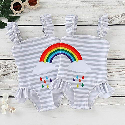 Styles I Love Baby Girl Matching Rainbow One-Piece Swimsuit Twin Girl Best Friend Bathing Suit Beach Swimwear