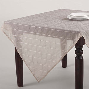 "Fennco Styles La Belle Epoque Stitched Sheer Tablecloth, 5 Colors (Taupe, 84""x84"")"