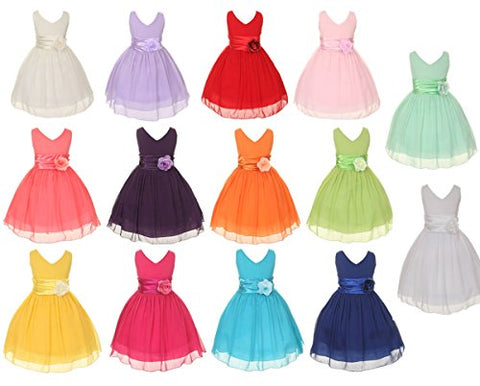 Kiki Kids Chiffon Double V Neck Flower Girl Dress, Made in USA