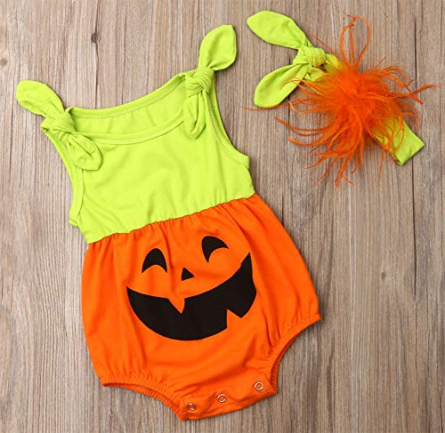 Styles I Love Infant Baby Girls Pumpkin Face Sleeveless Cotton Romper with Headband and Shoulder Ties 4pcs Halloween Outfit