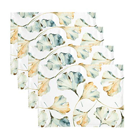 Fennco Styles Maidenhair Collection Cottage Watercolor Ginko Leaves 14 x 20 Inch Placemats, Set of 4 – Multicolor Place Mats for Thanksgiving Dinner, Family Gathering, Special Events and Home Décor