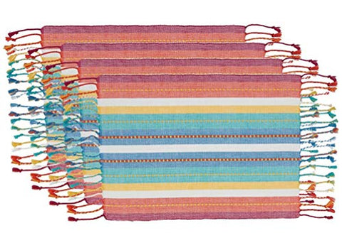 "Fennco Styles Colorful Dobby Stripe Fringe Cotton Placemats 13"" W x 19"" L, Set of 4 - Multicolored Table Mats for Home Décor, Dining Table, Holiday, Banquets and Special Occasions"