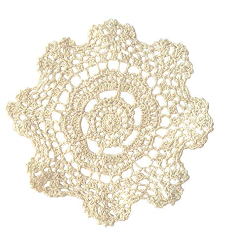 Fennco Styles Handmade Crochet Lace Cotton Doilies - 8-inch Round - 4-Pack
