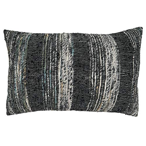 Fennco Styles Black Striped Design Pure Cotton Decorative Throw Pillow – Luxury Textured Cushion for Couch, Sofa, Bedroom, Office and Living Room Décor