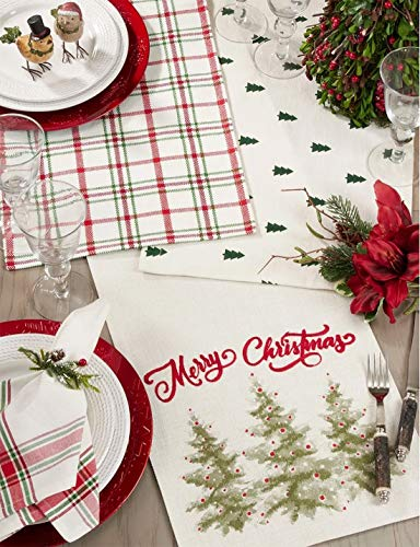 Fennco Styles Red & Green Holiday Plaid Design 100% Cotton Table Linen