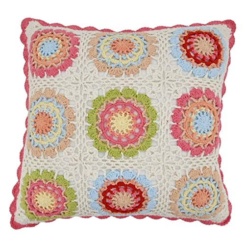 Fennco Styles Pastel Crochet Tiles 100% Pure Cotton Decorative Throw Pillow - 16-Inch Square Multicolored Cushion for Couch, Sofa, Kids Room, Office and Living Room Décor