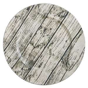 "Fennco Styles Printed Wood Rustic Charger Plates 14"" Round, Set of 4"