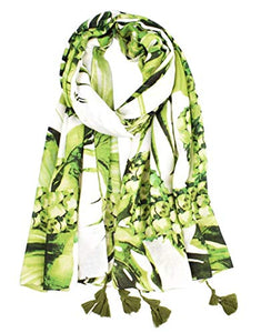StylesILove Women Girls Green Tropical Leaf Pineapple Print Oblong Scarf Lightweight Autumn Wrap Shawl