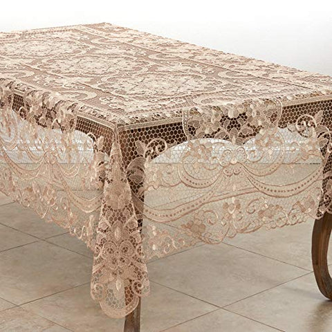 Fennco Styles Ecru Exquisite All Over Floral Lace Tablecloth