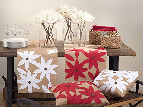 "Fennco Styles Poinsettia Holiday Flower Design Cotton Jute Throw Pillow 18""W x 18""L"