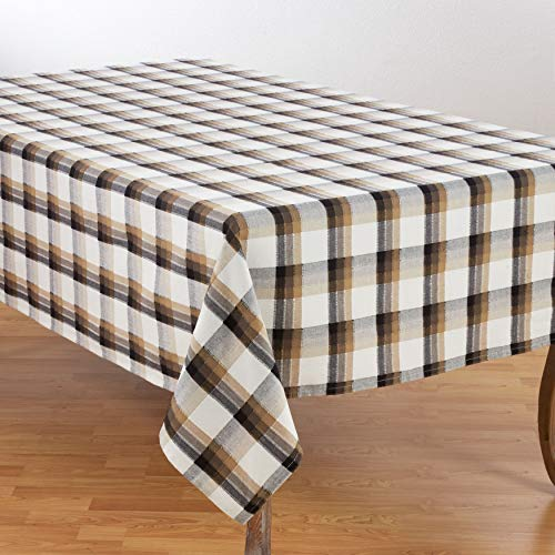 "Fennco Styles Holiday Plaid Pattern Textured Cotton Tablecloth (70""x120"")"