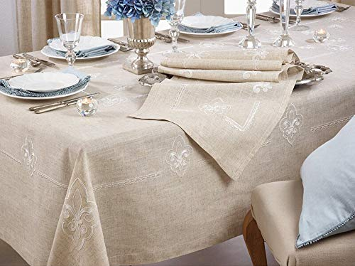 Fennco Styles Fabia Collection Elegant Embroidered Fleur de Lis Linen Blend 69 x 90 Inch Table Cloth – Natural Oblong Tablecloth for Dinner Party, Banquest, Special Events and Home Décor