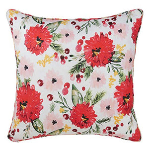"Fennco Styles Luxury Holiday Wild Floral 100% Pure Linen, 20""x20"" Filled Throw Pillow"