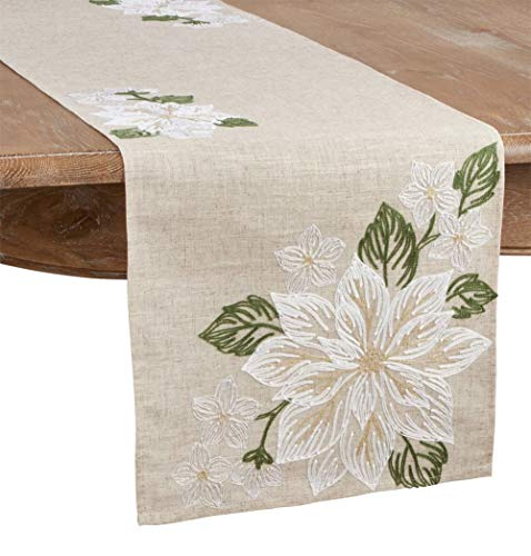 Fennco Styles Floral Embroidery Table Runner 16 x 70 Inch Rectangular – Natural Table Cover for Home Décor, Dining Table, Banquets, Easter, Holidays and Special Occasions
