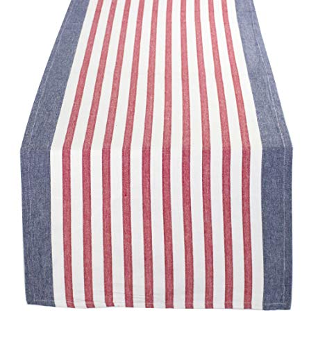 Fennco Styles American Flag Striped Cotton Table Linen, Napkins, Placemat