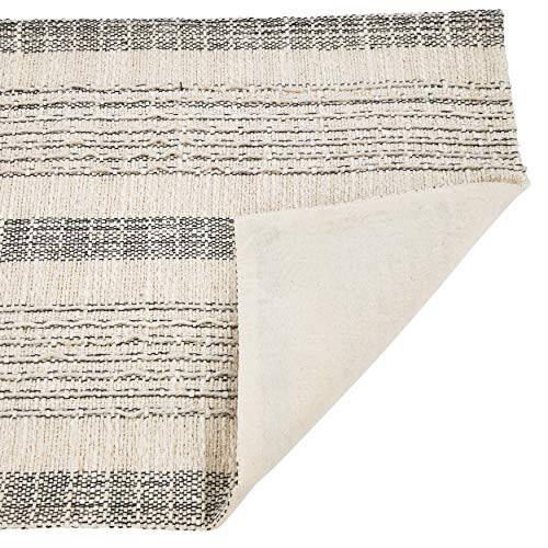 Fennco Styles Alexandra Collection Cottage Striped Cord Woven 100% Cotton 16 x 72 Inch Table Runner – Ivory Table Runner for Banquets, Family Gathering, Special Events and Home Décor