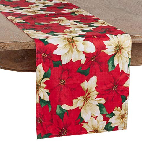 Fennco Styles Provencher Collection Classic Poinsettia Blossom Printed Table Linens