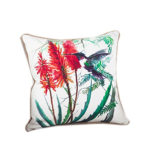 Fennco Styles 18-inch Humming Bird Down Filled Throw Pillow - 100% Cotton