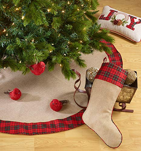 Fennco Styles Holiday Decor Christmas Chic Tartan Plaid Trim Tree Skirt Hanging Stocking