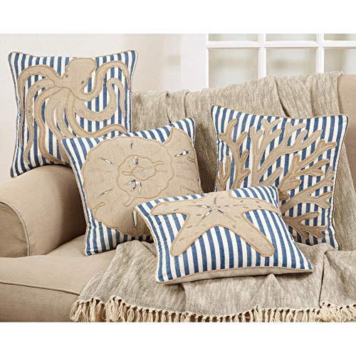 Fennco Styles Nautical Sea Creatures 18 Inch Square Cotton Down Filled Decorative Throw Pillow – Striped Navy Blue Cushion for Couch, Sofa, Bedroom, Office and Living Room Décor