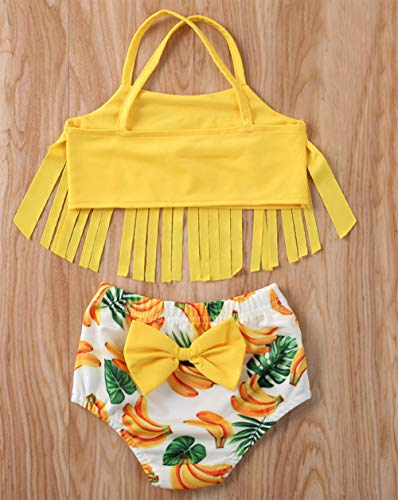 Styles I Love Infant Baby Girls Yellow Fringe Banana Bikini Swimsuit Bathing Suit Beach Swimwear 2pcs Set
