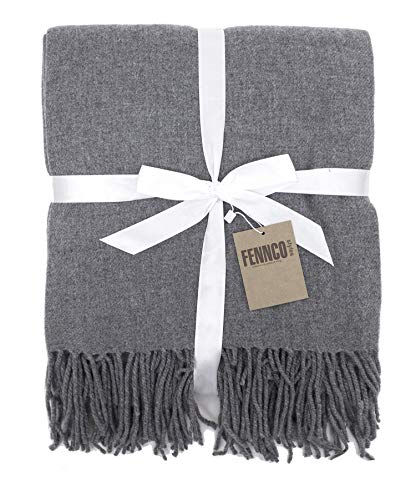 "Fennco Styles Classic Plain Cozy Wool Blend Woven Tassels Throw 50"" W x 60"" L - Neutral Throw Blanket for Couch, Living Room, Bed and Home Decor"