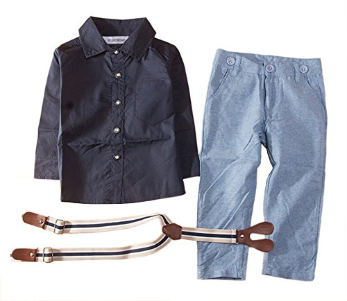 stylesilove Little Boy Long Sleeve Button Down Shirt, Suspender Straps and Pants 3-pc Formal Outfit