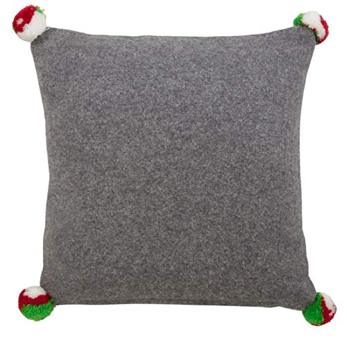 Fennco Styles Holiday Elf Legs Wool Blend Decorative Throw Pillow 12 Inch Square - Grey Cushion for Home, Couch, Office, Living Room and Holiday Décor