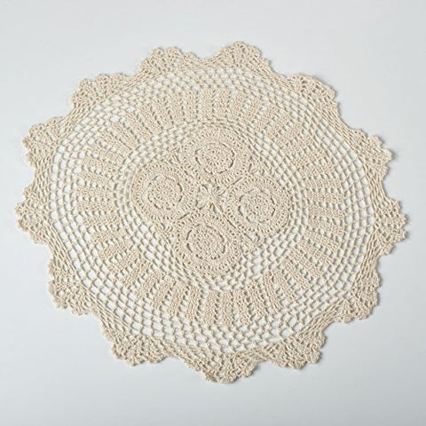 FenncoStyles Set of 2 Handmade Crochet Lace Placemat Doilies. 20 Inch Round. Beige Color.
