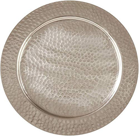 "Fennco Styles Hammered Aluminum Charger Plates 13"" Round, Set of 4 – Silver Meal Table Chargers for Banquets, Family Dinners, Special Events, Everyday Use and Home Décor"