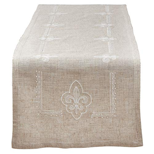 Fennco Styles Fabia Collection Elegant Embroidered Fleur de Lis Linen Blend 16 x 72 Inch Table Runner – Natural Table Runner for Dinner Party, Banquest, Special Events and Home Décor