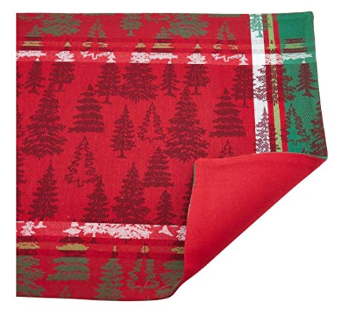 Fennco Styles Christmas Tree Plaid Design 100% Cotton Table Linens - Various Sizes for Home, Holiday, Family Gathering and Special Ocassion