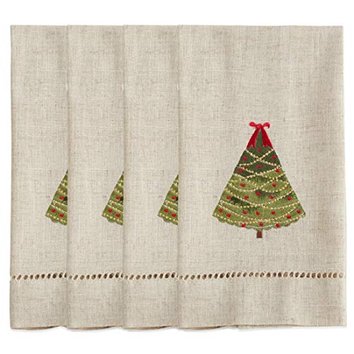 Fennco Styles Embroidered and Hemstitched Design Ribbon Christmas Tree Linen-Poly Guest Towels 14 x 22 Inch, Set of 4