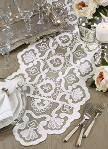 Fennco Styles Ivory Elegant Embroidered Floral Lace Table Runner