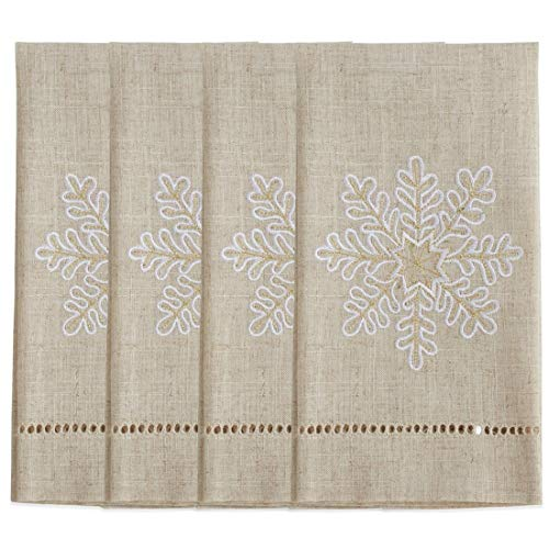 Fennco Styles Embroidered and Hemstitched Design Snowflake Linen-Poly Guest Towels 14 x 22 Inch, Set of 4