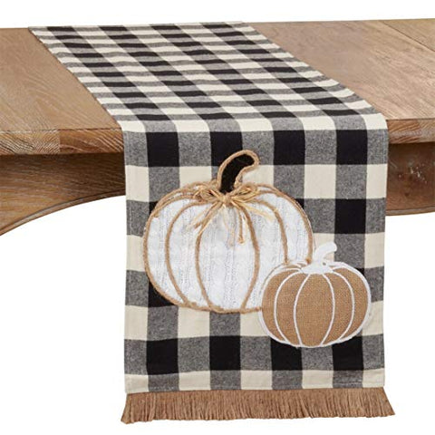 "Fennco Styles Buffalo Plaid Harvest Pumpkin Fringe Table Runner 14"" W X 72"" L - Black & White Traditional Table Cover for Home, Banquets, Thanksgiving, Christmas, Family Gathering and Special Events"