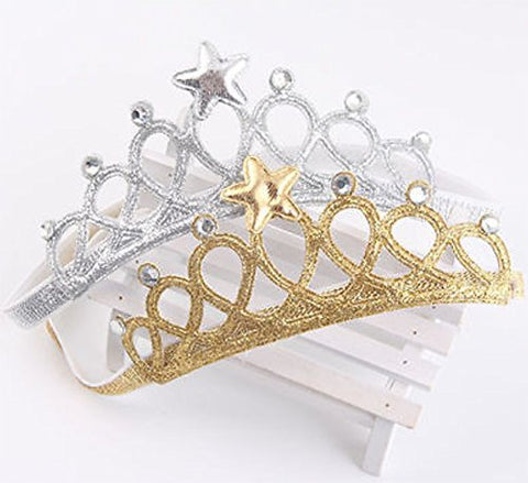 StylesILove Baby Girl Little Princess Crown Elastic Headband 0-3 Years, 2 Colors