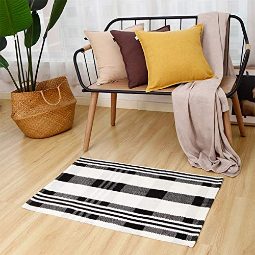 "Fennco Styles Black Ivory Classic Plaid Small Area Rug 24"" W x 51"" L - Cotton Blend Woven Indoor Outdoor Floor Mat for Living Room, Entryway, Bedroom and Floor Décor"