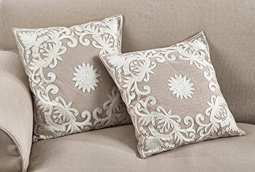 "Fennco Styles Embroidered Floral Cotton Filled Decorative Throw Pillow, 18"" Wx18 L"