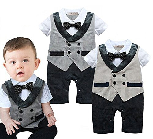 stylesilove Infant Toddler Short Sleeve Glossy Lapel Baby Boy Formal Wear Wedding Tuxedo Romper