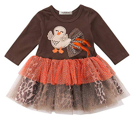 StylesILove Baby Toddler Girl Brown Long Sleeve Turkey Applique Tutu Dress Thanksgiving Outfit