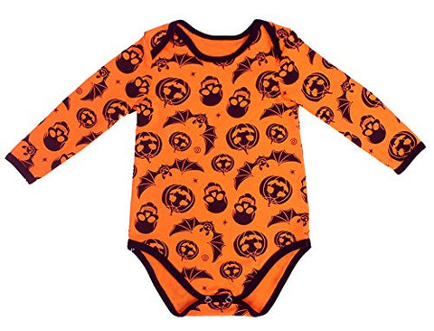 StylesILove Infant Baby Girls Halloween Print Long Sleeve Orange Cotton Romper Costume Bodysuit