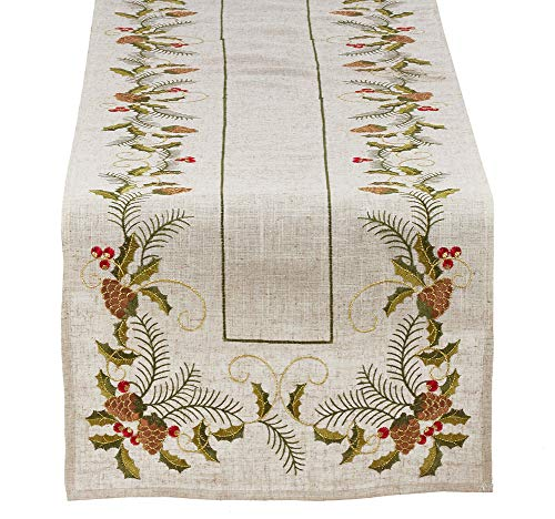 Fennco Styles Holiday Embroidered Pinecone and Holly Poly-Linen Natural Table Linen Collection