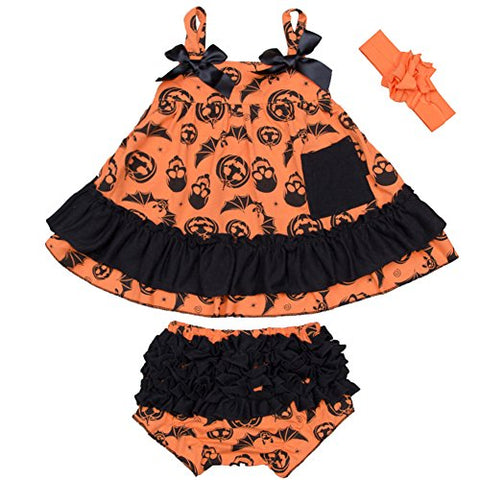 StylesILove Baby Girl Swing Top Pumpkin Dress and Bloomers with Headband 3 pcs Halloween Costume Outfit