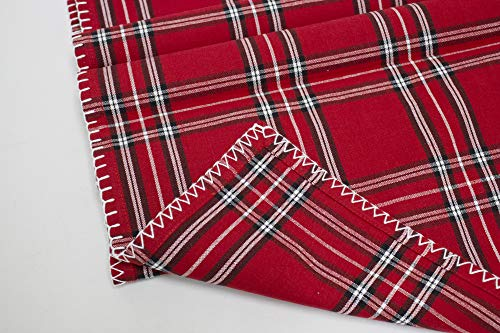 Fennco Styles Contemporary Plaid Whip Stitched Flange 100% Pure Cotton Table Linens – Red Table Linens for Christmas Banquets, Family Gathering, Special Events and Home Décor