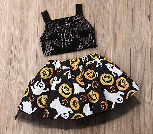 Styles I Love Baby Girls Sequin Black Crop Top and Pumpkin Spooky Boo Tulle Skirt 2pcs Halloween Costume Outfit