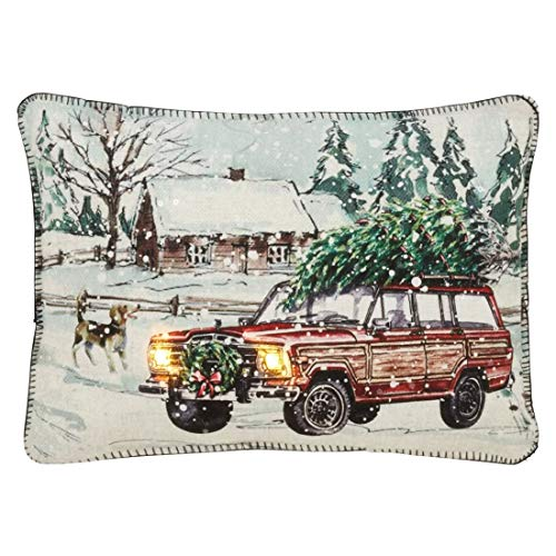 "Christmas Station Wagon Design with LED Lights Decorative Throw Pillow 13"" W x 18"" L"